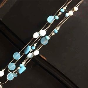 Blue beaded 3 layer necklace